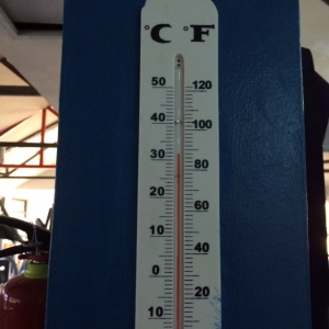Proof that it is about 90 degrees in the Tamarindo Fitness Center :).