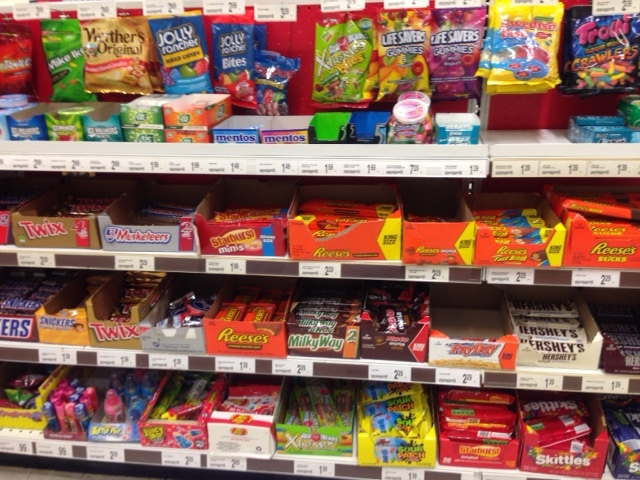 This is the candy section right before the checkout in unexpecting locations.