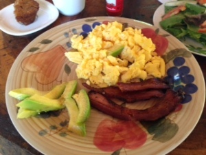 Scrambled eggs with bacon and avocado -- perfect no carbohydrate breakfast.
