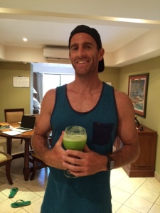 Nicky drinking his green smoothie -- different ingredients then the one below.